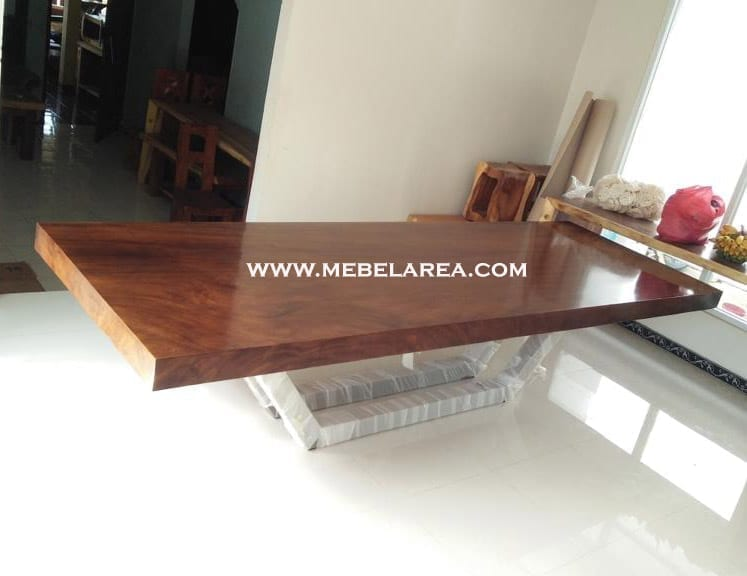 Furniture Meja Trembesi Modern Kaki Besi