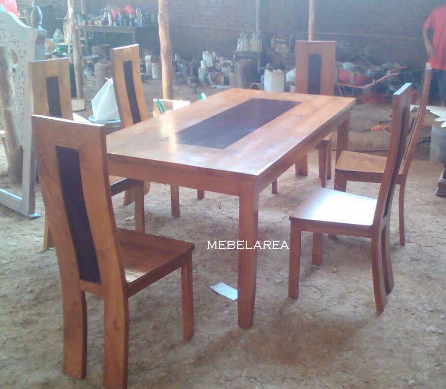 set meja makan jati modern
