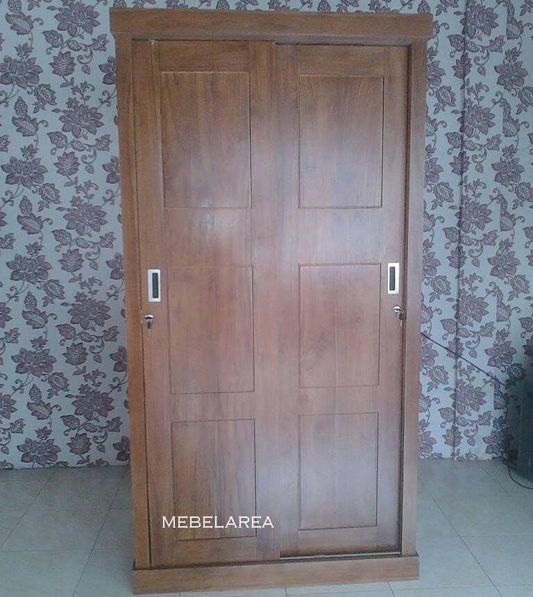 lemari pakaian pintu 2 sleding geser jati