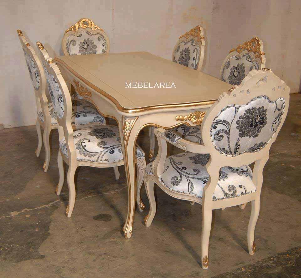 Meja Makan Mewah Warna Putih