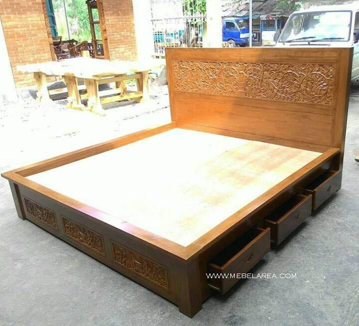 dipan minimalis laci kombinasi ukiran kayu jati