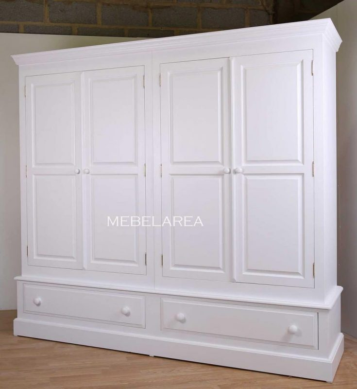 lemari pakian pintu 4 minimalis warna putih duco kayu mahoni