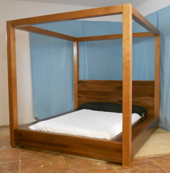tempat tidur kanopi minimalis modern jati