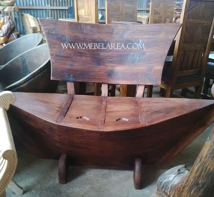 kursi perahu, kursi perahu recycled, kursi antik model perahu kayu jati