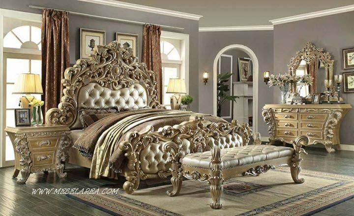 set tempat tidur ukiran klasik eropa mewah kayu jati jepara