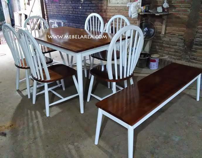 Jual Furniture 1 Set Meja Makan Minimalis Vintage
