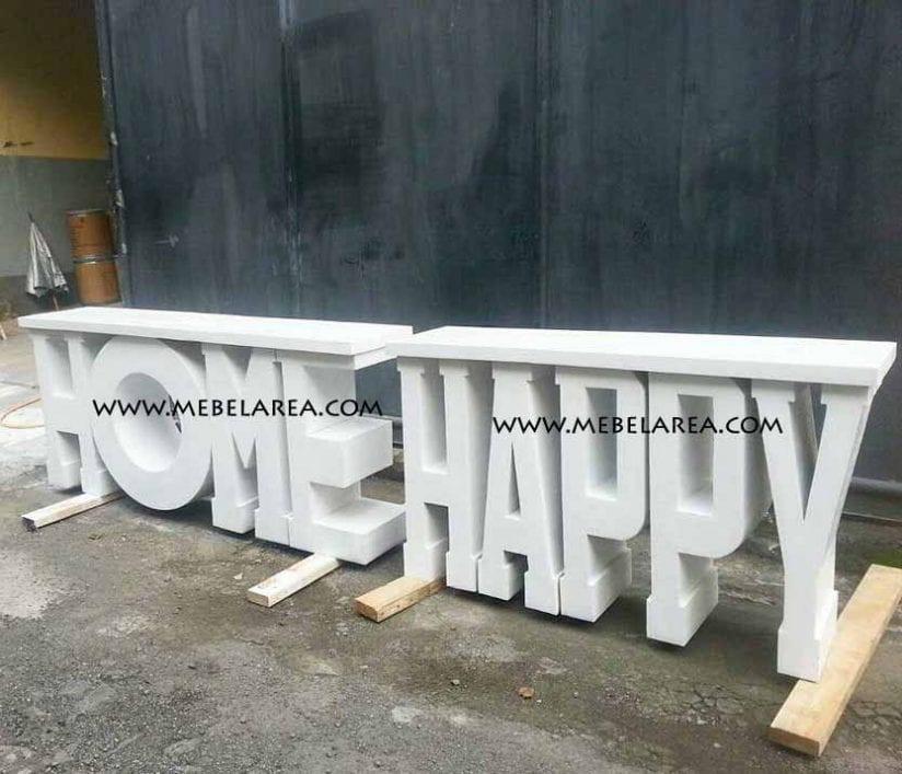 Jual meja cantik tulisan home happy kayu mahoni warna duco putih