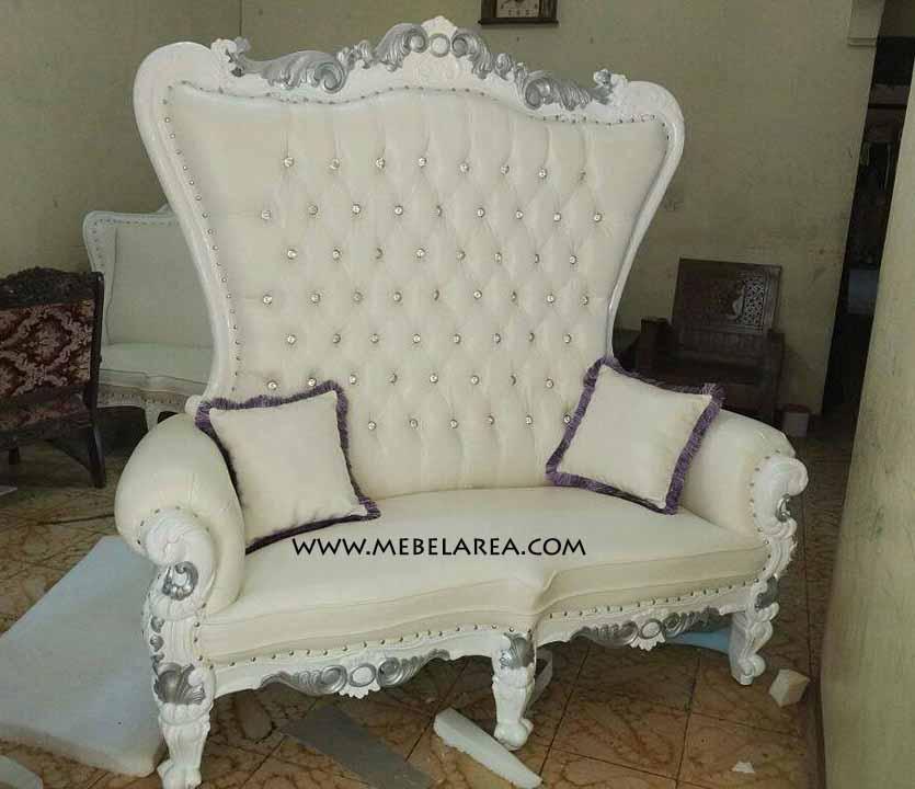 Jual Sofa Pengantin Model Sofa Sahrini Ukiran Mewah Warna Duco Putih