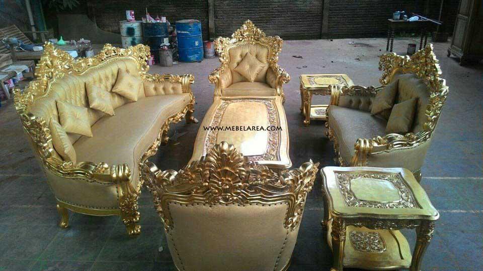 Jual Furniture Set Sofa Tamu Romawi Royal Gold Emas Ukir Mewah Halus Harga Murah