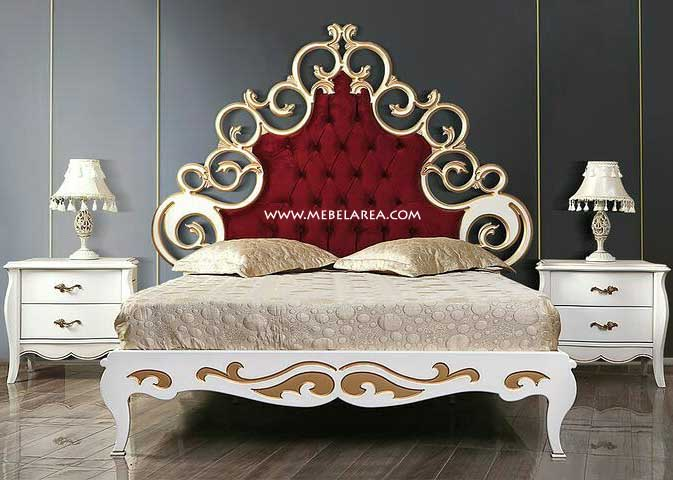 Jual Furniture Tempat Tidur Ukir Duco Putih Model Mewah