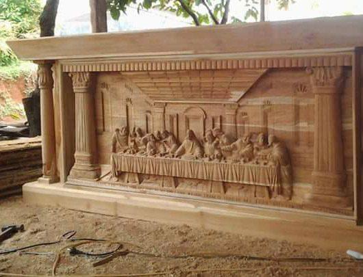 Furniture Meja Perjamuan Umat Kristen Kayu Jati Jepara
