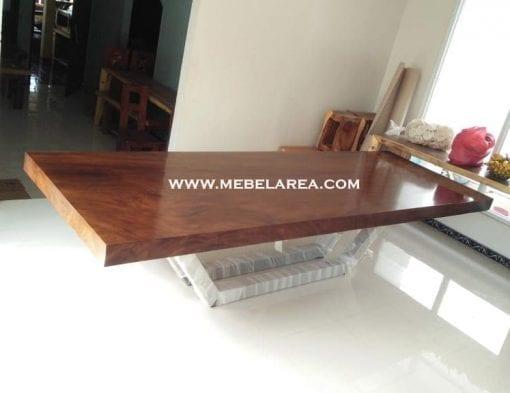 Furniture Meja Trembesi Modern Kaki Besi