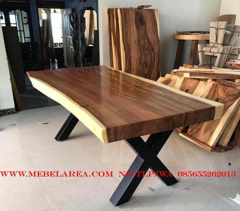 Meja trembesi kayu solid jepara furniture meja kayu terbaru