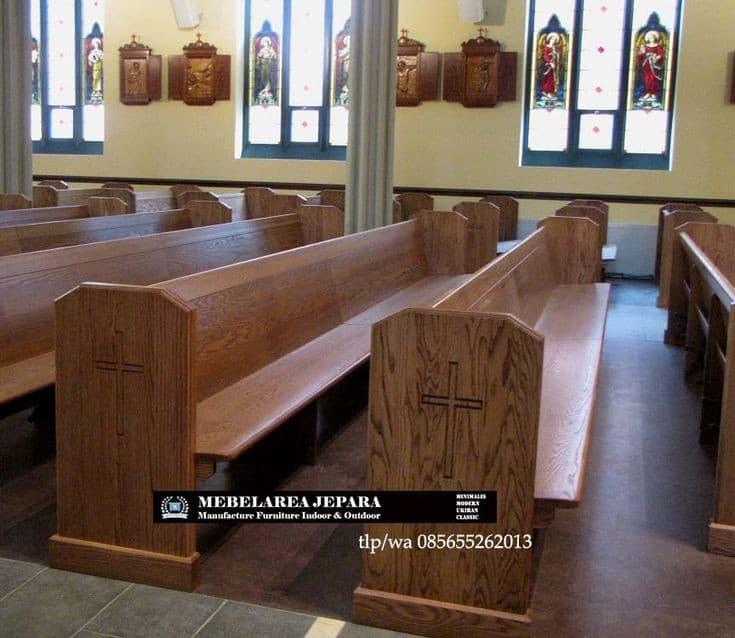 Bangku Gereja Jati Model Terbaru Minimalis Modern Sandaran Papan Kayu Blok