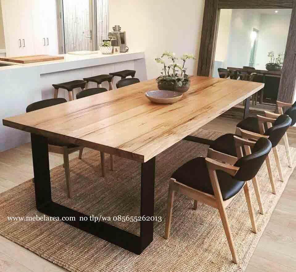 jual furniture meja makan scandinavian kayu jati kaki besi kualitas mebel jepara asli