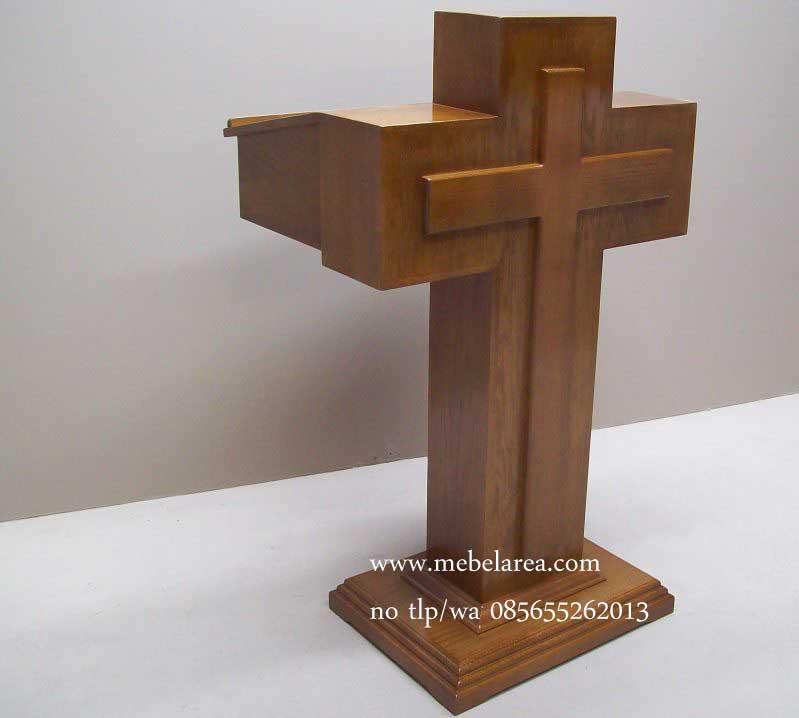 Podium Gereja Salib Dari Kayu Jati Model Terbaru